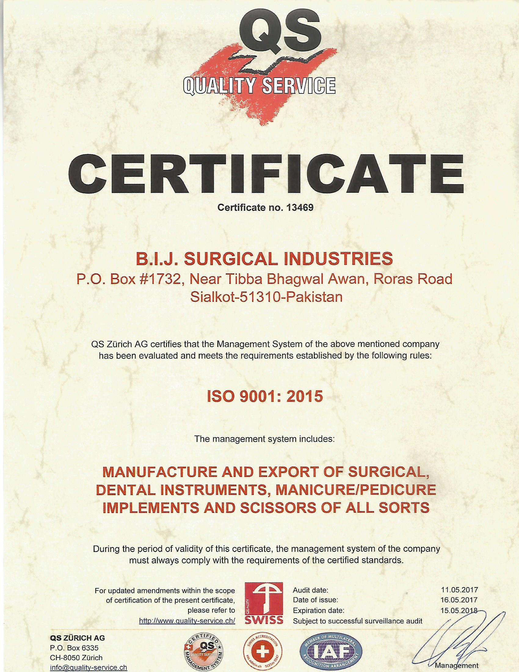 BIJ Surgical ISO Certificate