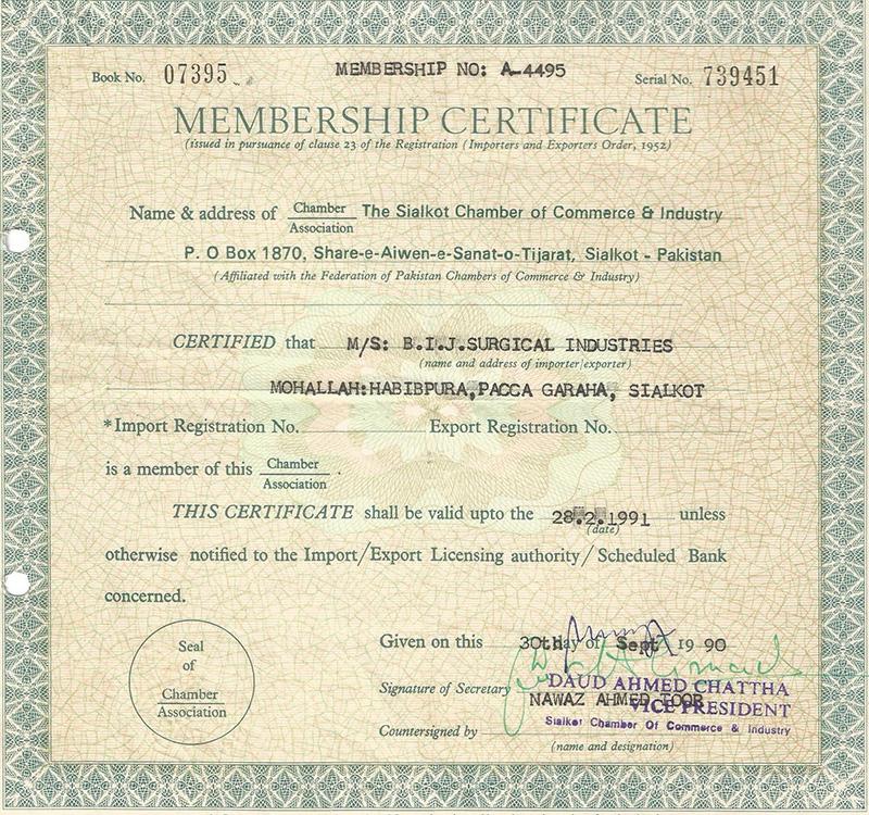 Bij Surgical Chamber Certificate-1990