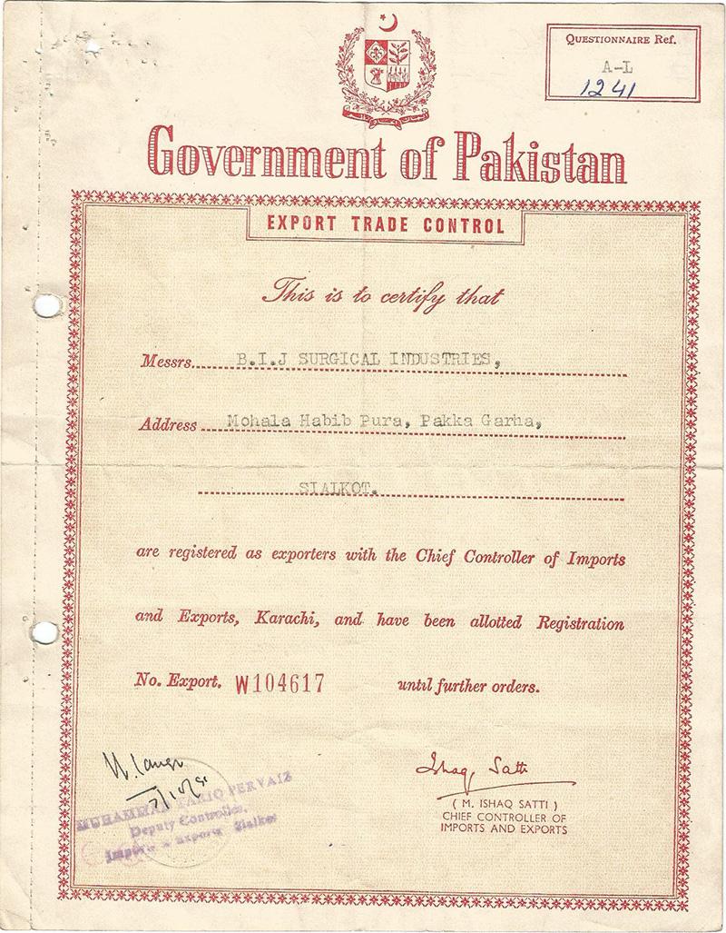 BIJ Surgical Export Registration Certificate-1990